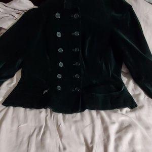 Military style velvet black jacket